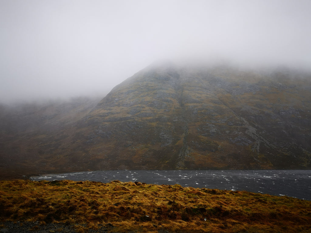 Mountain mists and white crests on local lochs.