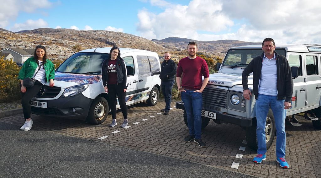 Distillery team local distribution at a safe distance. L to R: Jacqueline, Joanna, Jamie (Essence of Harris), Harry and Stevie.