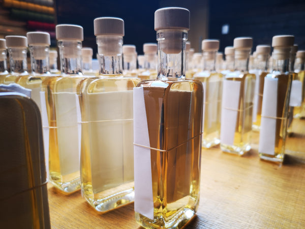 Sample bottles of our first Harris drams, ready for personalisation.