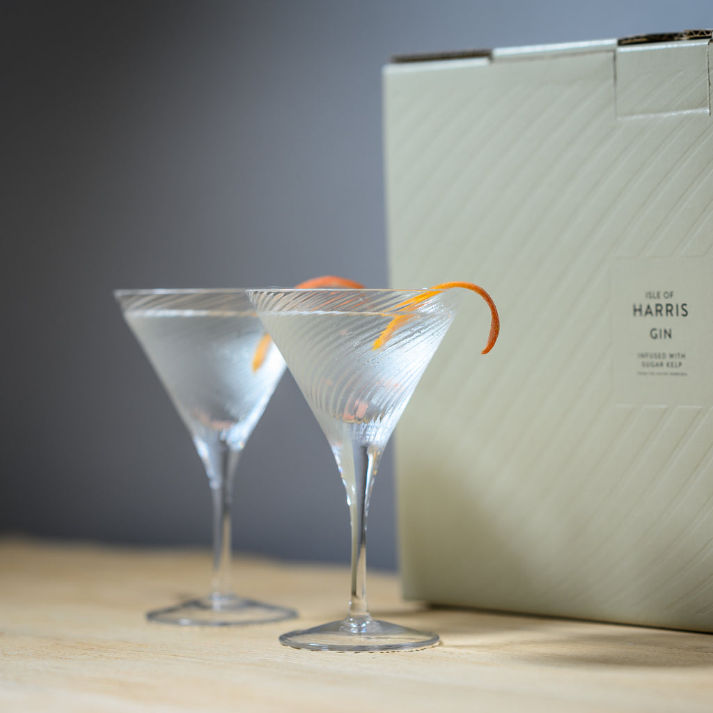 Matching Harris Martini glasses, perfectly paired for two.