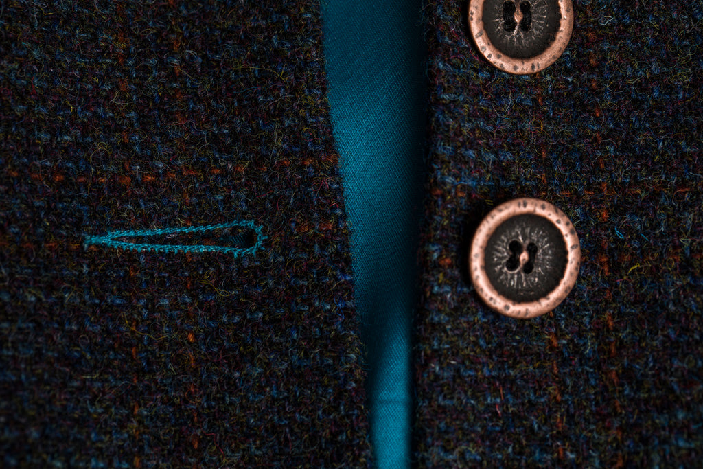 Copper button detailing and contrast stitching.