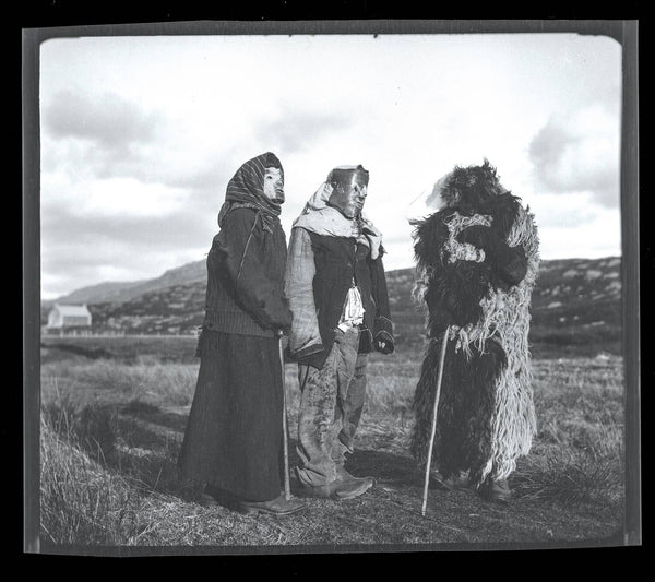 Traditional Hebridean guisers show off their costumes. Image © Margaret Ann Shaw 1932. Via www.nts.org.uk