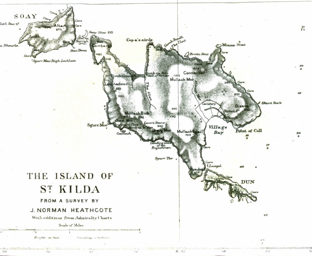 Norman Heathcote's map of the St Kilda archipelago © National Trust for Scotland.