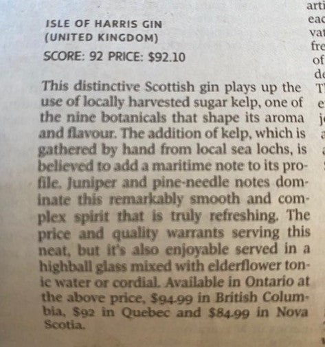 Isle of Harris Gin scores 92 in Canada's Globe & Mail.