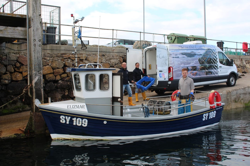 The Seas The Catch crew at Leverburgh harbour, Isle of Harris.