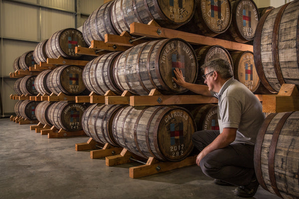 Kenny and some of our private casks in the Ardhasaig warehouse.