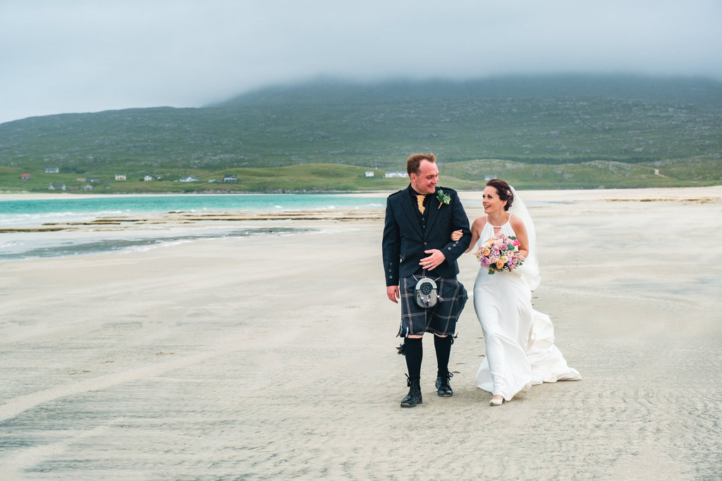 The happy couple, Traigh Seilebost, Isle of Harris.