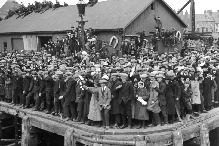 "Waving off the 'Metagama"" ship which took 300 Hebrideans to Canada in 1923."