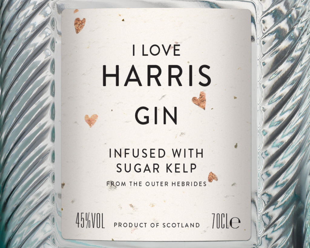 The 'I Love Harris Gin' Special Edition label with copper heart flecks.