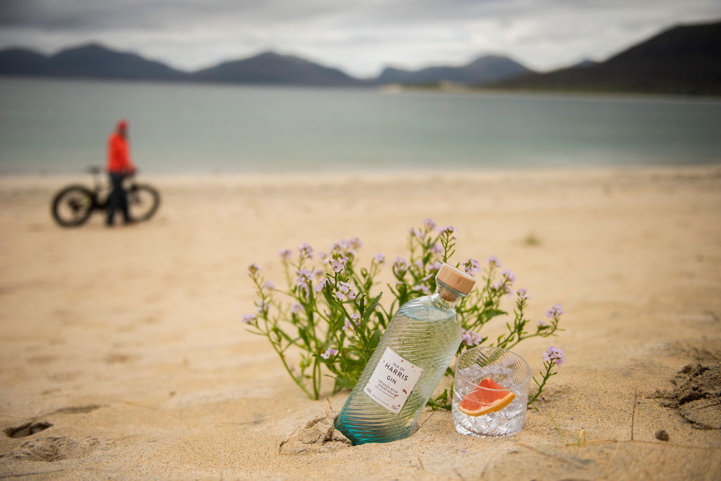 Bottle and e-Bike on the beach, just don't drink and ride!