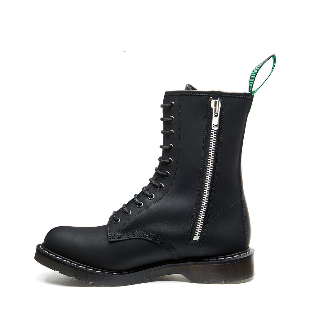 Black Greasy 11 Eye Zip Derby Boot