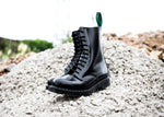 Black Hi-Shine 11 Eye Derby Boot
