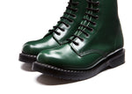 Green Hi-Shine 11 Eye Derby Boot