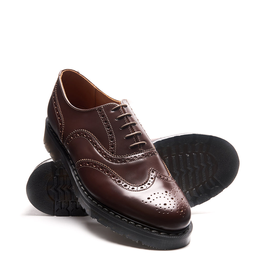 Brown Hi-Shine English Brogue Shoe