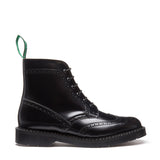 Black Hi-Shine 6 Eye Brogue Boot
