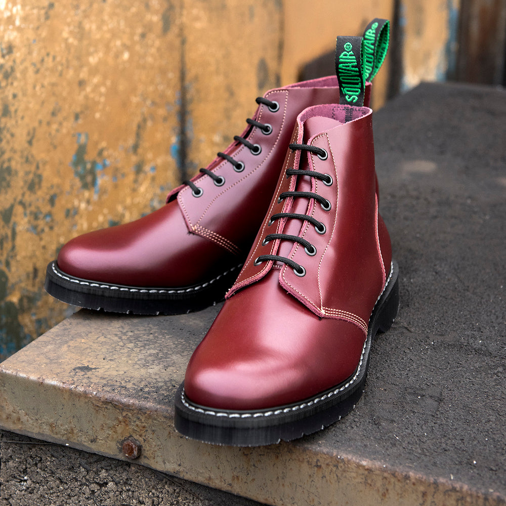 Oxblood Hi-Shine 6 Eye Astronaut Boot