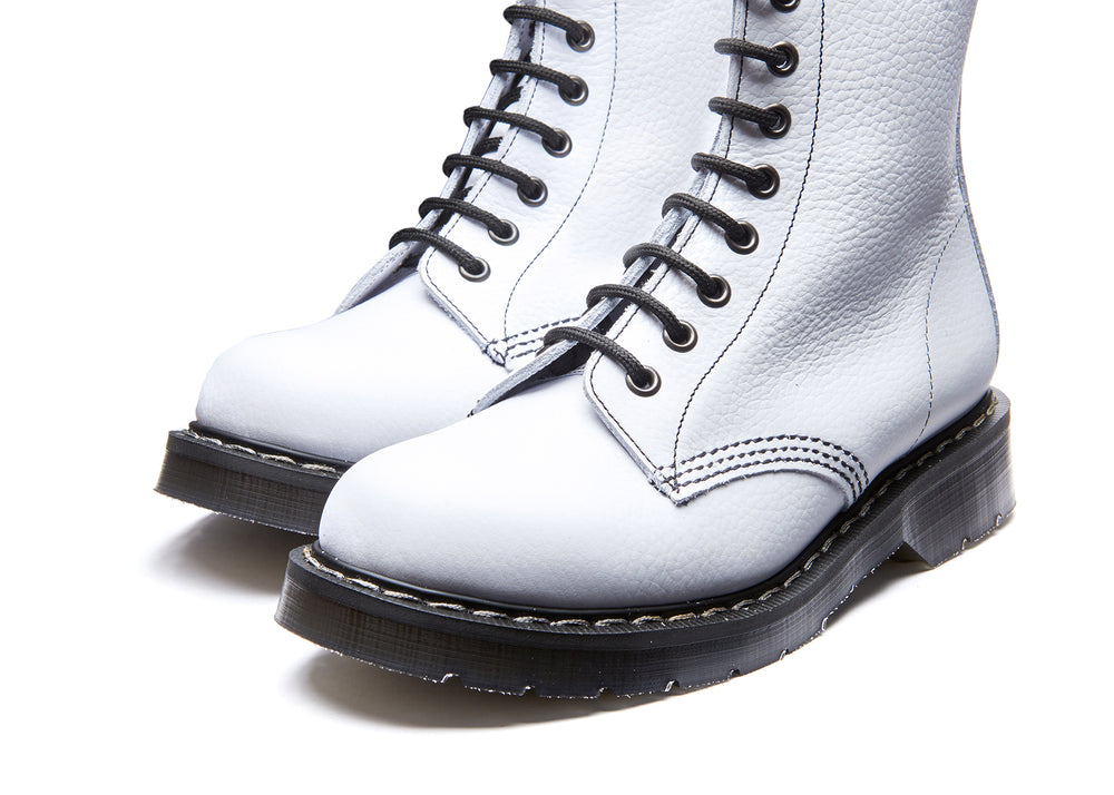 White Soft Grain 8 Eye Derby Boot