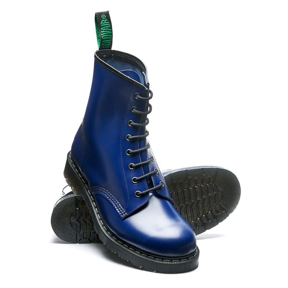 Bright Blue Hi-Shine 8 Eye Derby Boot