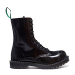 Black Hi-Shine 11 Eye Steel Toe Derby Boot