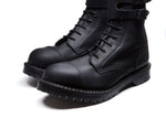 Black Greasy Steel Toe Strap Derby Boot