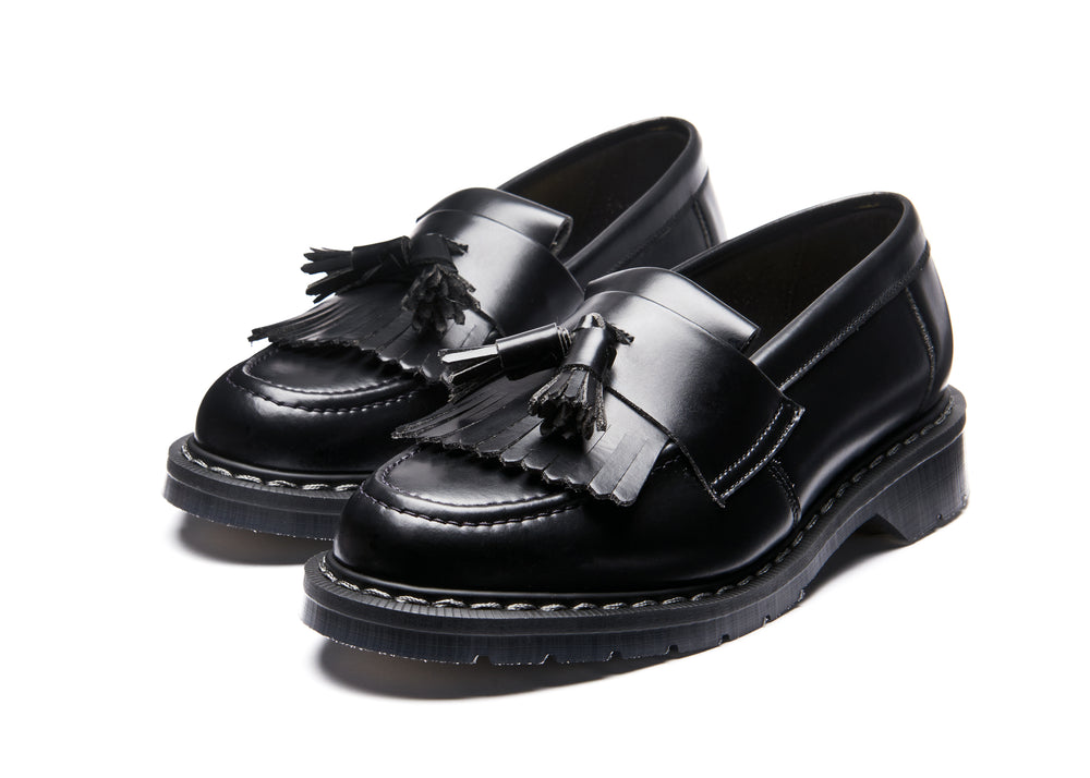 Black Vegan Hi-Shine Tassel Loafer