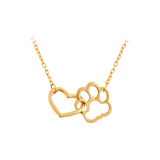 Dog Paw and Heart Pendant Necklace