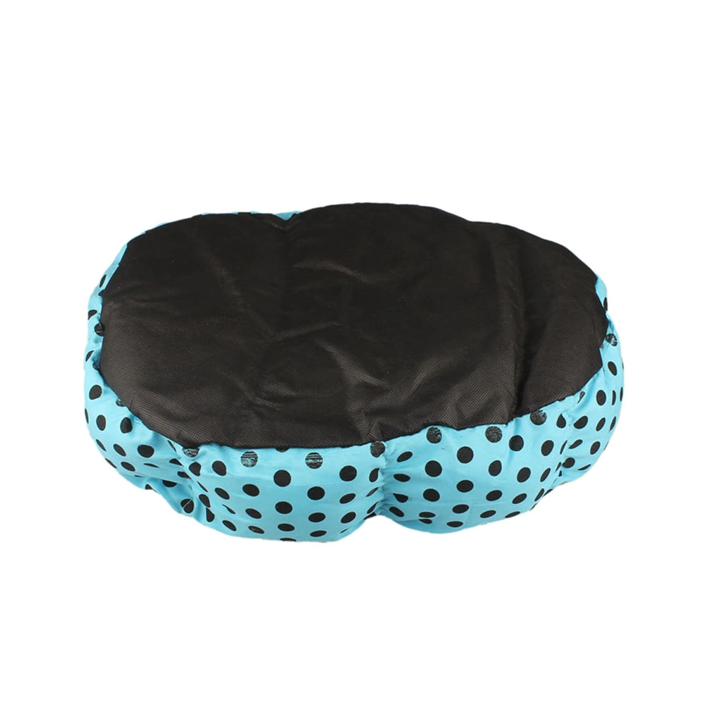 Blue Polka Dot Plush Pet Bed