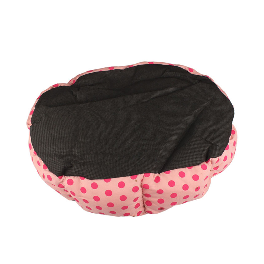 Pink Polka Dot Plush Pet Bed