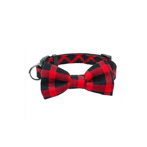 Red Plaid Bowtie Dog Collar