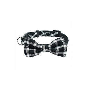 Black Plaid Bowtie Dog Collar
