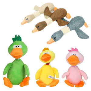 Duck and Chicken Fleece Squeaky Dog Toys