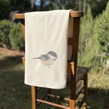 Chickadee Bird Flour Sack Towel