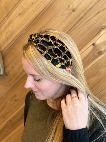 Jocelyn Velvet Beaded Leopard Headband in Black