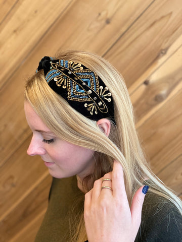 Twyla Velvet Beaded Headband Black