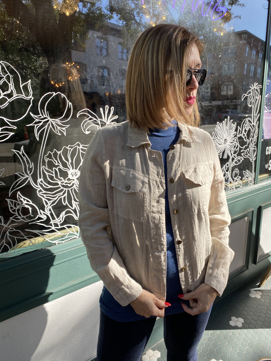 Linen Jacket in Beige