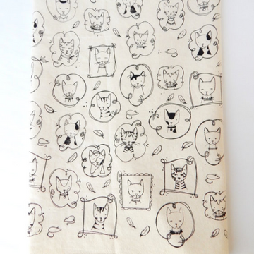 Cat Hand Printed Cotton Towel in Black