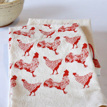 Chicken Hand Printed Cotton Towel in Red