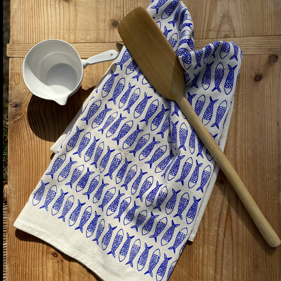 Fish Hand Printed Cotton Towel in Blue