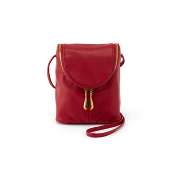 Hobo Fern Leather Crossbody in Scarlet