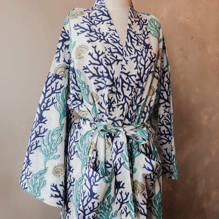 Coral Reef Cotton Robe in Blue