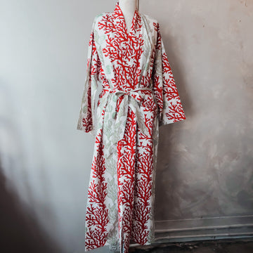 Coral Reef Cotton Wrap Robe in Red