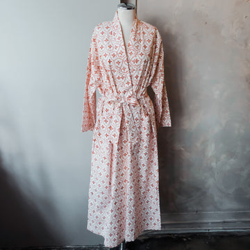 Orange Mosaic Cotton Robe