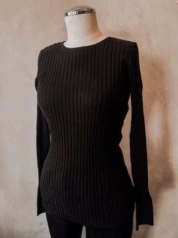Cashmere Ribbed Sweater- Black