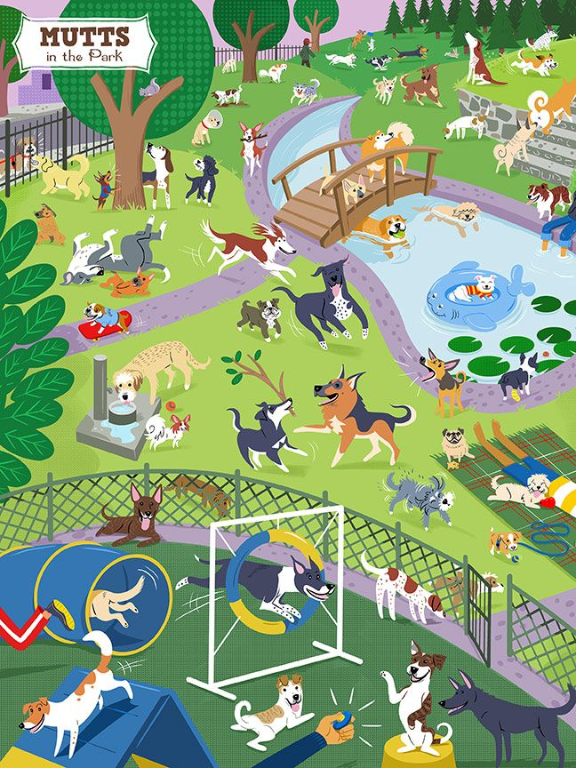 Mutts in the Park 500 Piece Jigsaw Puzzle