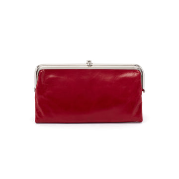 Hobo Lauren Leather Clutch Wallet in Garnet