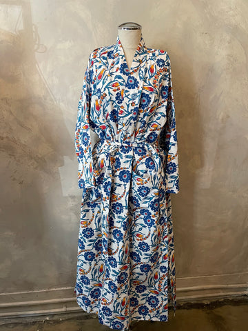 Multi Color Floral Cotton Robe