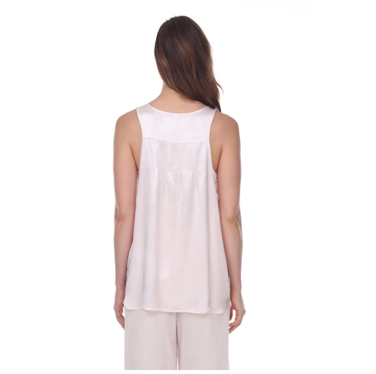 Satin Tank with Pleated Back