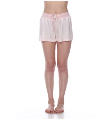 Satin Short with Rib Knit Waistband and Adjustable Drawstring