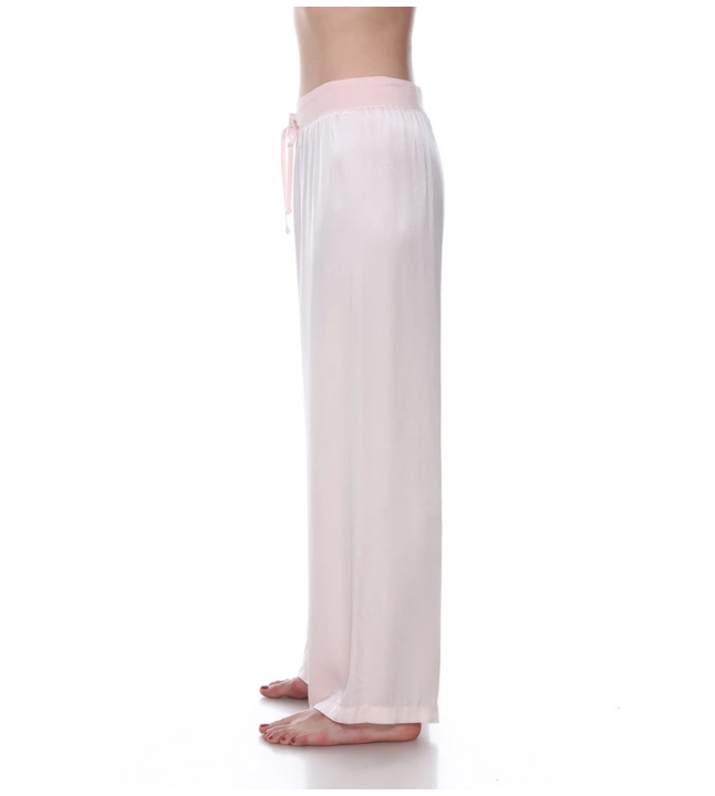 Satin Pant with Rib Waistband and Adjustable Drawstring