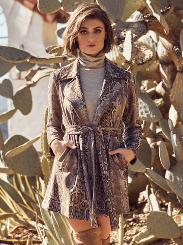 Snake Printed Faux Suede Coat